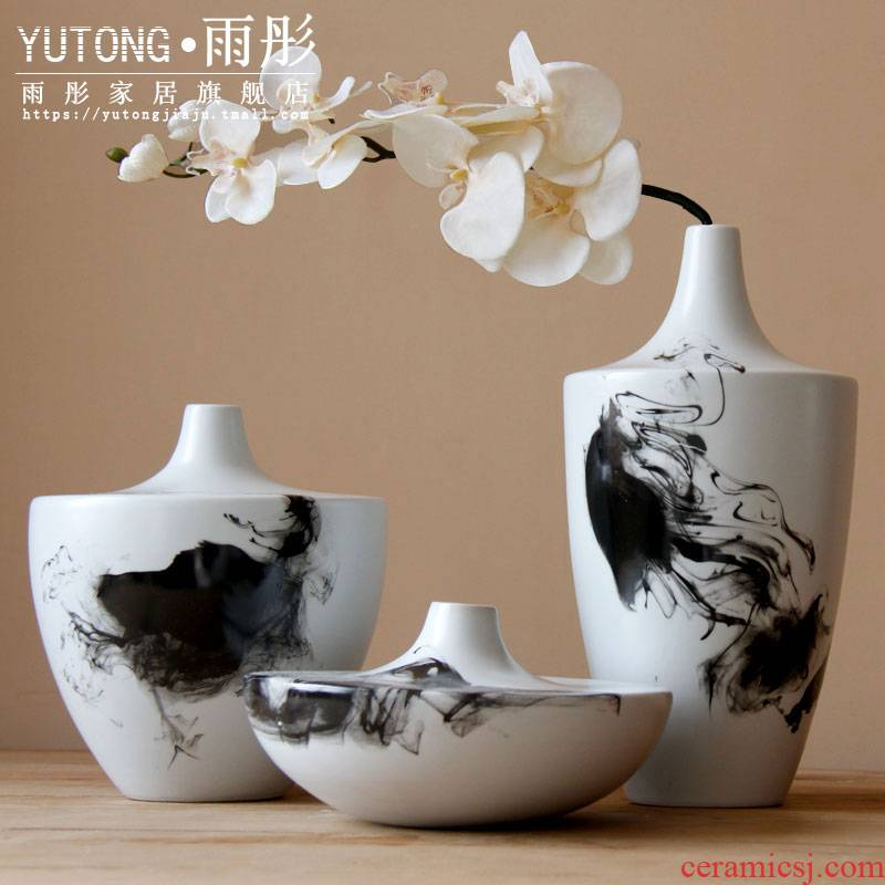 Hand - made ink painting ceramic vase household ceramic water raise vase furnishing articles furnishing articles ceramic vases, flower arranging flowers