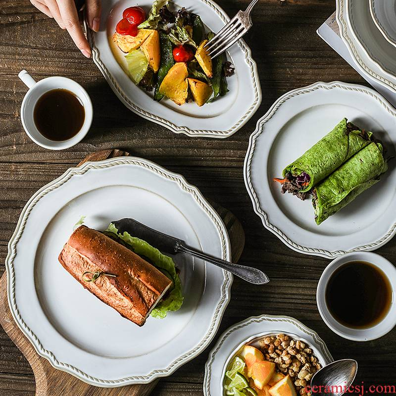 Nordic creative ceramics steak web celebrity light and decoration plate ins western - style food dish bead edge plate of household breakfast tray
