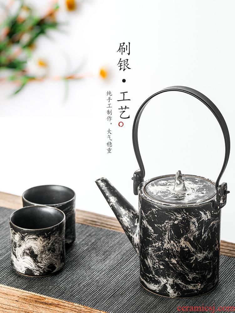 Kombucha tea teapot jingdezhen checking ceramic tea pot of single pot of Chinese brush silver pot of large capacity girder are male