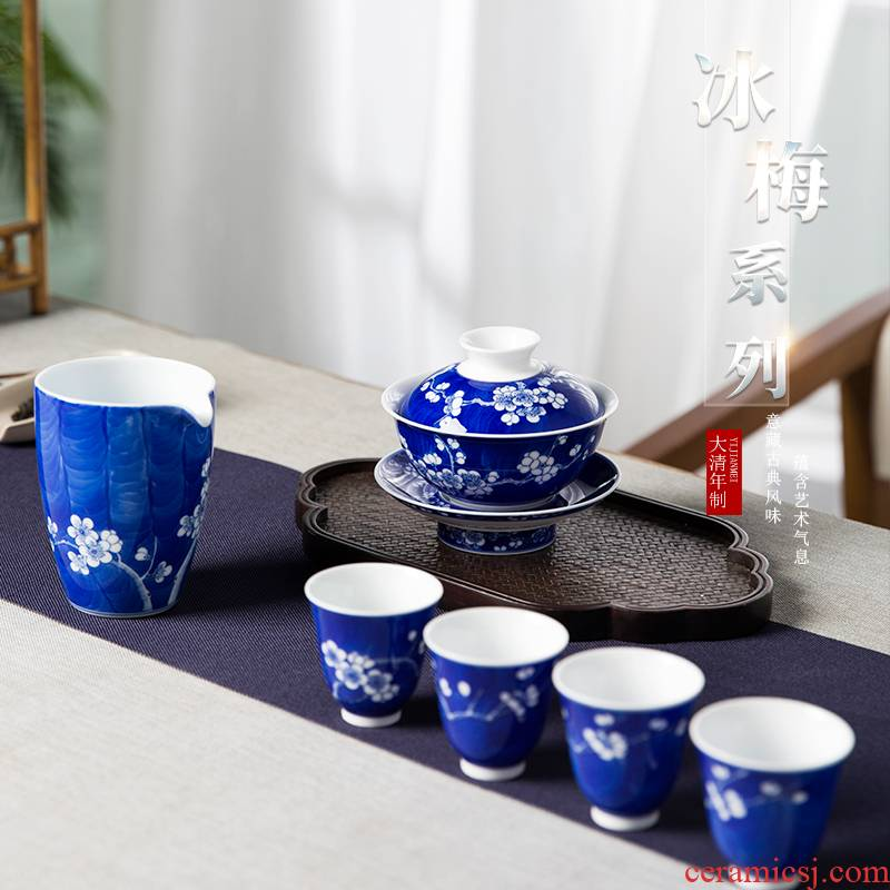 Ice name plum series suit jingdezhen blue and white pure manual tureen hand - made teacup kung fu tea set suits for high temperature ceramic