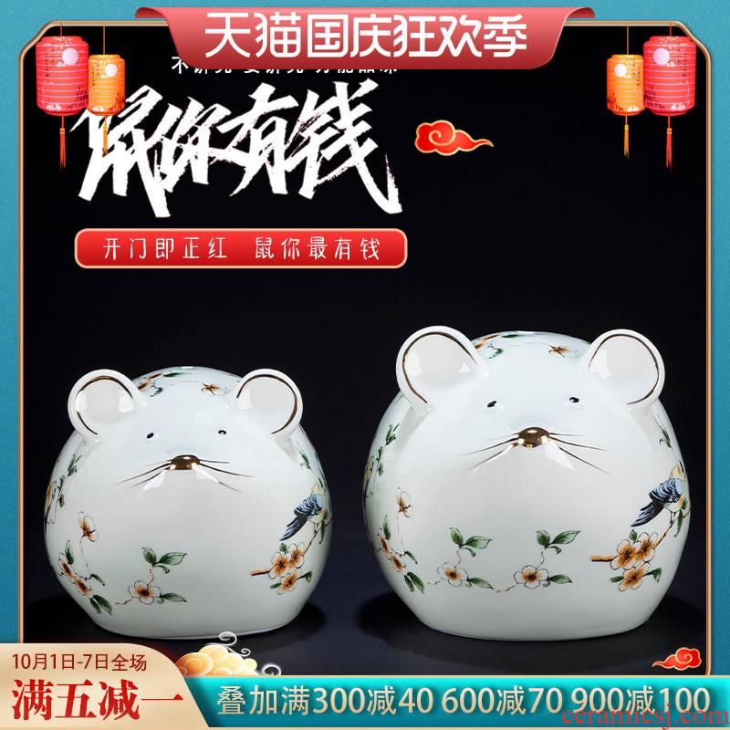 Jingdezhen ceramic see rat express it in the desktop furnishing articles porcelain jar porch is decorated fortune handicraft
