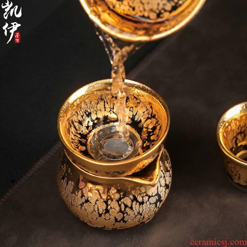 Build light tea strainer 24 k jinzhan ceramic filter separator gold oil droplets kung fu tea tea tea accessories