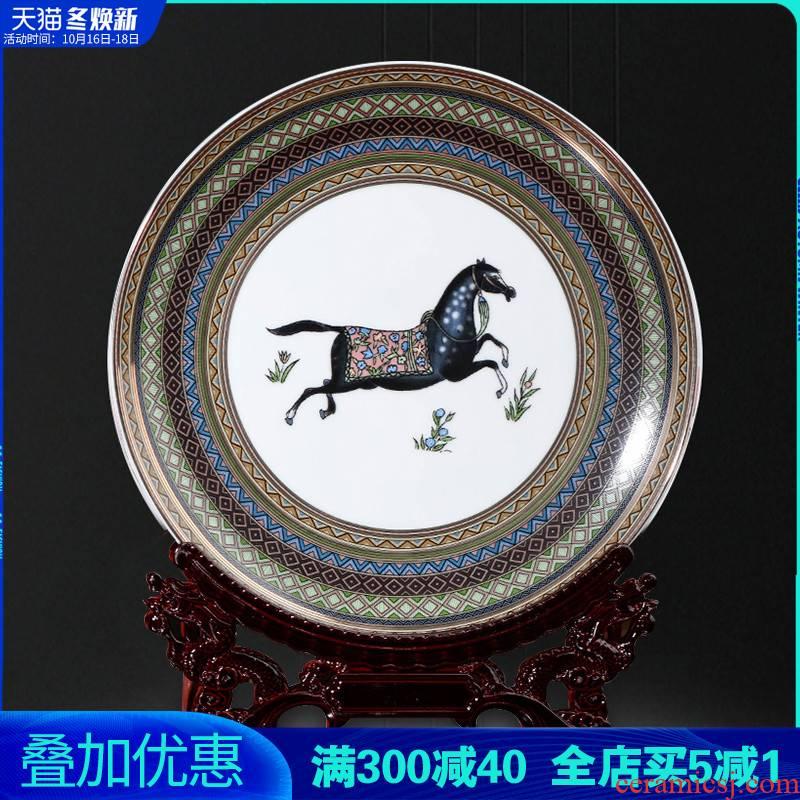 Jingdezhen ceramics European horse decoration plate living room TV ark, setting wall hang dish sat dish furnishing articles of handicraft