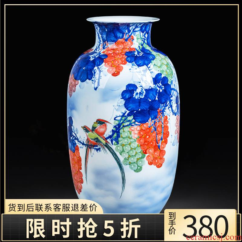Jingdezhen ceramics hand - made idea gourd bottle of blue and white porcelain vase sitting room office decoration of Chinese style household furnishing articles