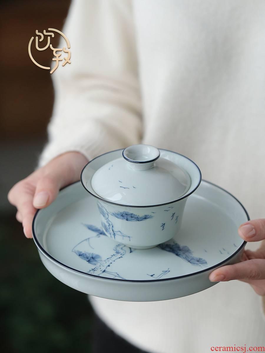Ultimately responds to clay hand - made porcelain CiHu bearing dry terms plate ceramic teapot tray household bearing small tea tea tea tray