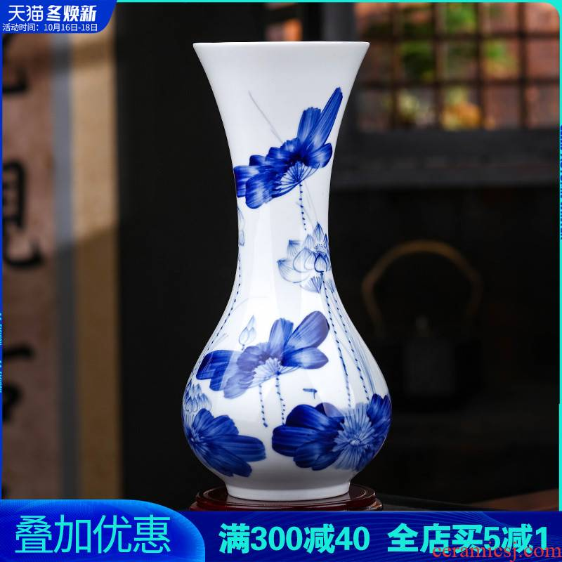 Jingdezhen ceramics hand - made furnishing articles sitting room blue and white porcelain vase flower arranging water raise lucky bamboo TV ark, adornment