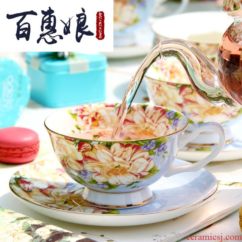(niang European - style ipads porcelain coffee cup suit afternoon tea tea set household three pieces of pottery British red tea cups and saucers