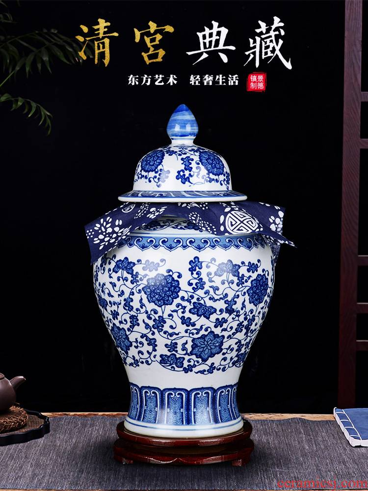 Blue and white porcelain of jingdezhen ceramics pu 'er tea jar of antique Chinese traditional medicine a large jar with cover sealing general furnishing articles