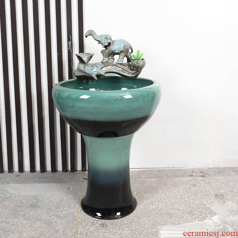 Ceramic floor pillar goldfish bowl water fountain large fish bowl lotus home landscape tortoise furnishing articles