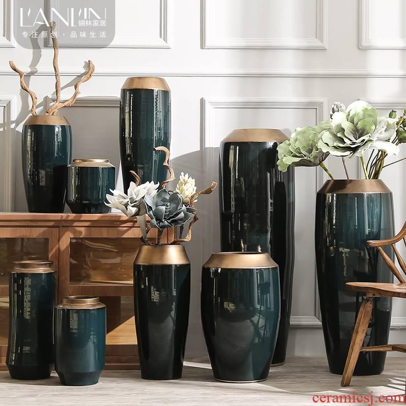 Large modern ceramic vase simulation flower flower arranging flower implement a sitting room be born furnishing articles suit hydroponic flower pot American