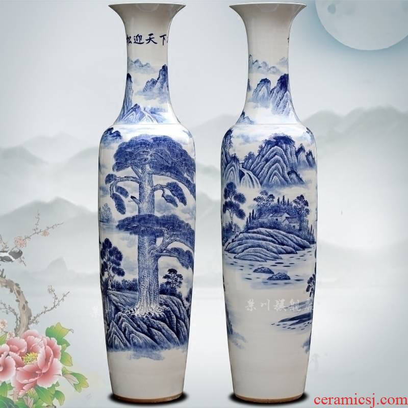 Jingdezhen porcelain ceramic hand - made loose to meet the world landing big vase household sitting room hotel Chinese large - sized furnishing articles