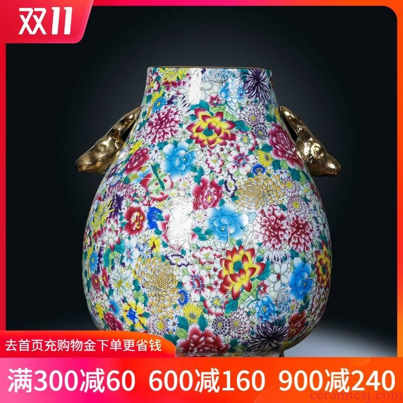 Jingdezhen ceramics powder enamel flower ear vase Chinese style restoring ancient ways is the sitting room porch TV ark adornment furnishing articles