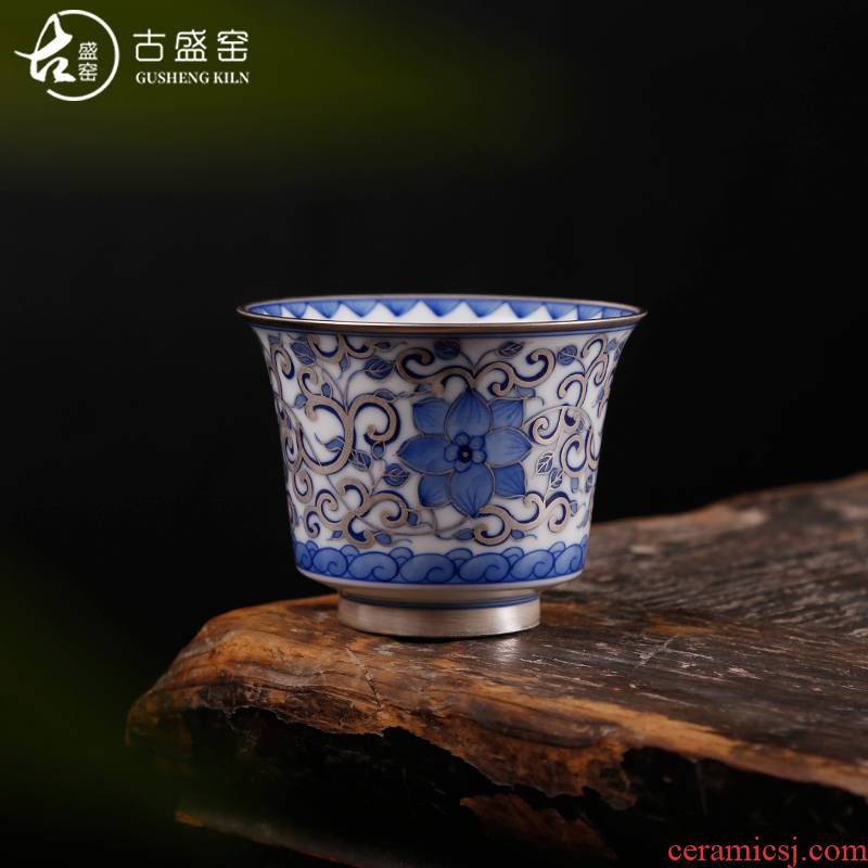 The ancient silver cup pure manual coppering. As sheng up 999 sterling silver master cup with silver blue cup of jingdezhen ceramic cup