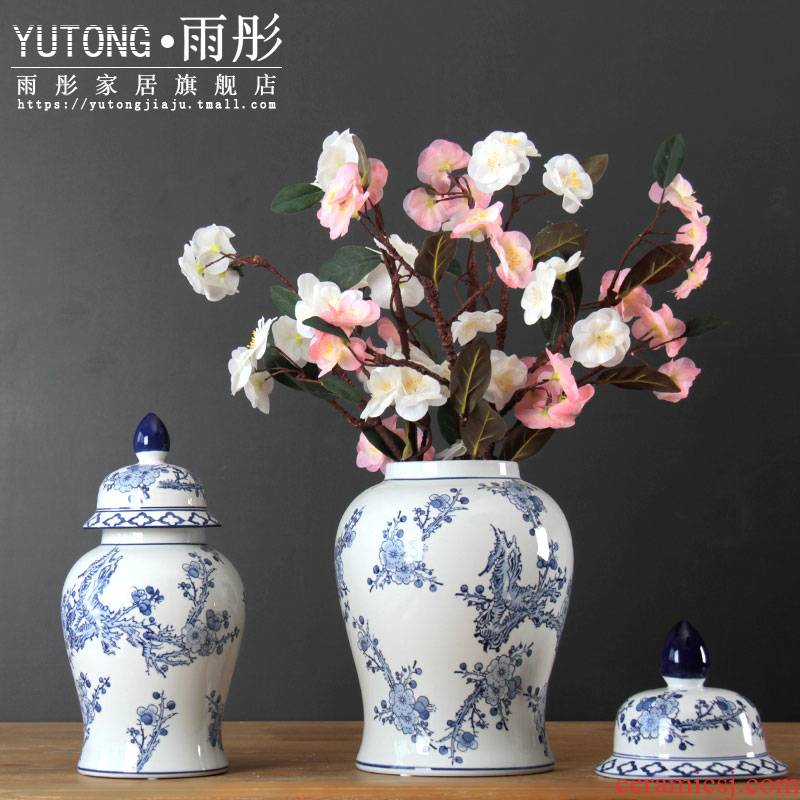 Jingdezhen ceramic furnishing articles general blue and white porcelain pot and square pot of new Chinese style living room decoration flower vase