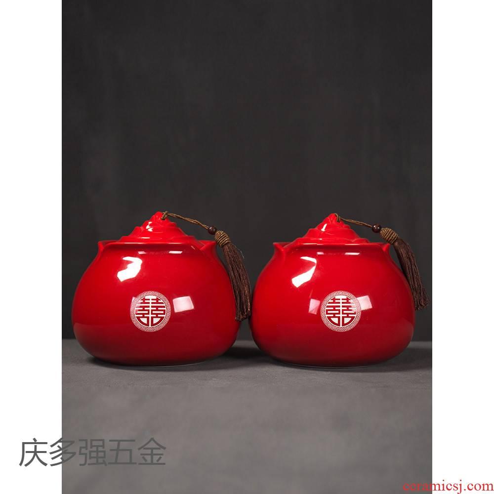 Wedding tea pot ceramic supplies daqo and joyful Wedding set red small seal storage tank customization