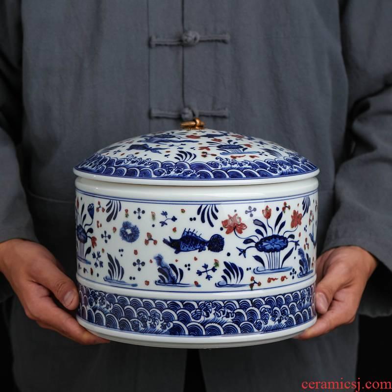 Restoring ancient ways of jingdezhen blue and white youligong pu 'er tea pot seal moisture tea cake storage POTS of household
