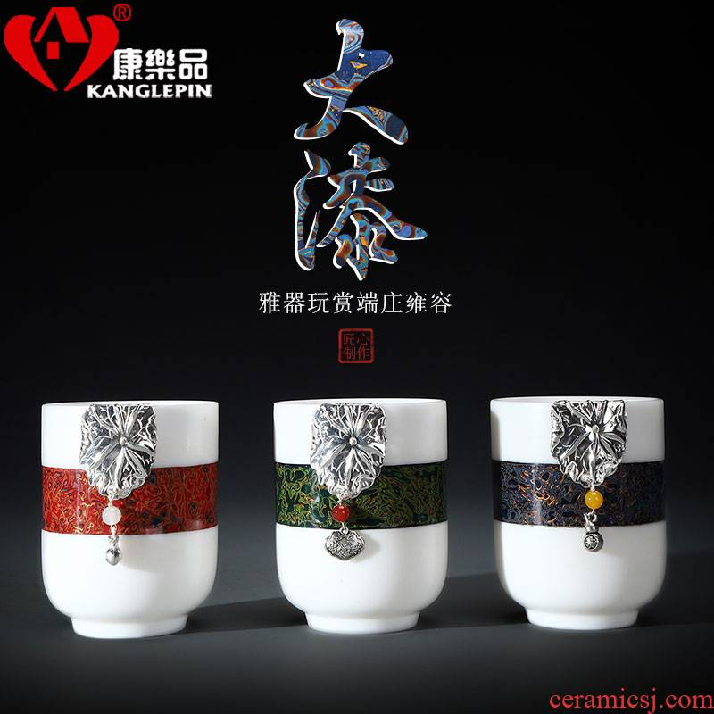 Recreational taste Chinese lacquer tea set with silver 999 dehua white porcelain cups suet jade pure manual master cup Chinese ceramics