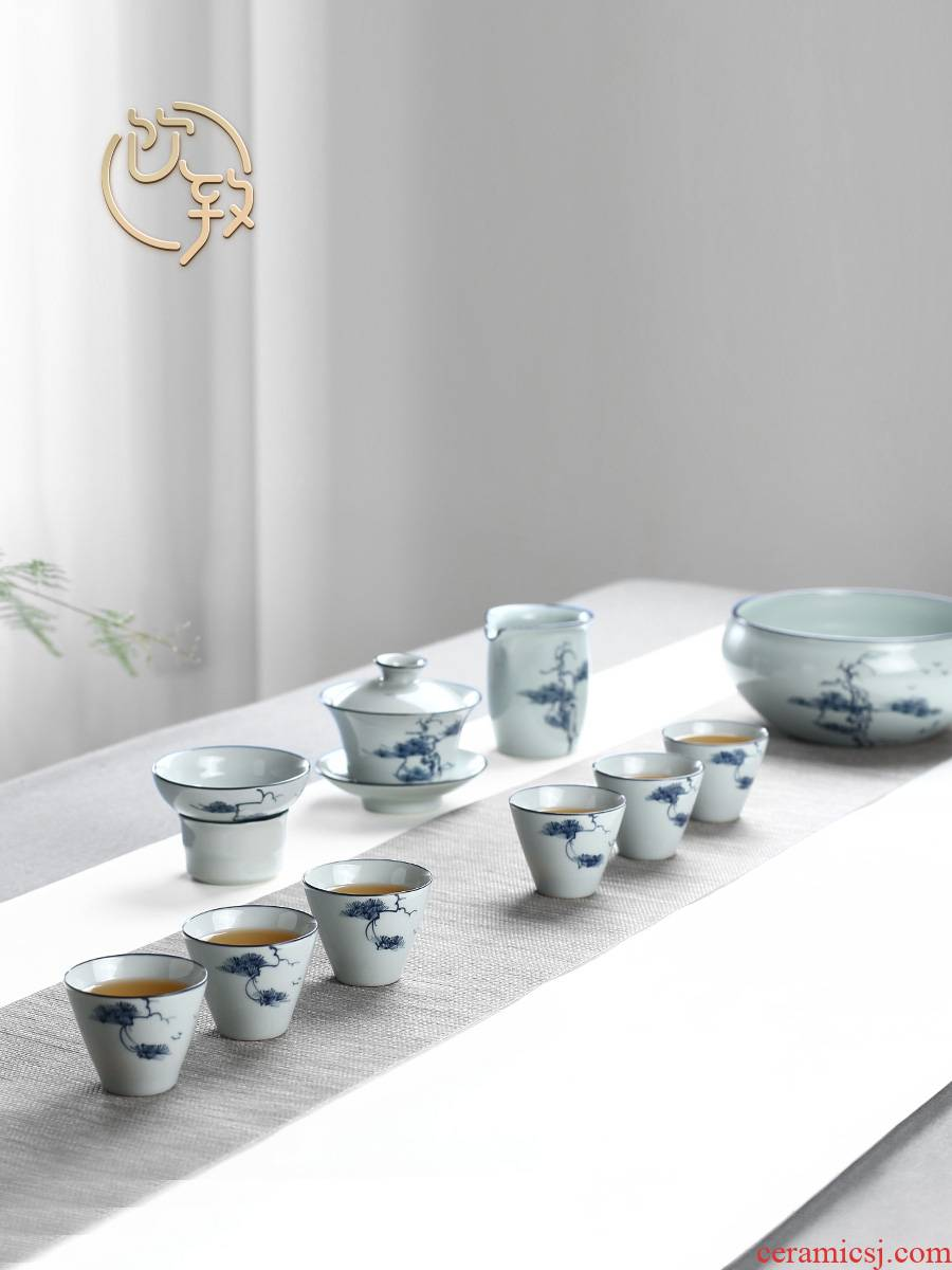Ultimately responds to clay jingdezhen contracted hand - made kung fu tea set home sitting room tureen of pottery and porcelain teacup gift boxes