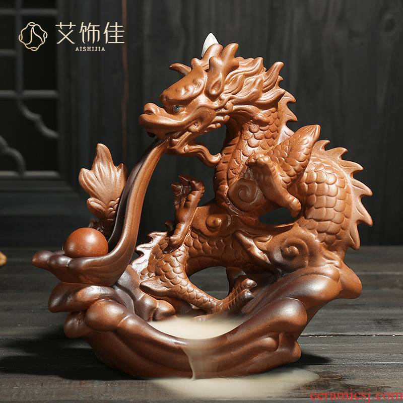 Ceramic backflow censer auspicious dragon play pearl tea sweet fume furnace home furnishing articles sandal smoked incense buner handicraft furnishing articles