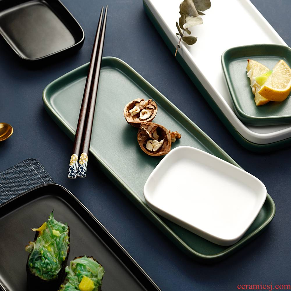 The Nordic idea ceramic sushi plate rectangular western - style food plate household sweet snack dish dish fish dish snack dishes
