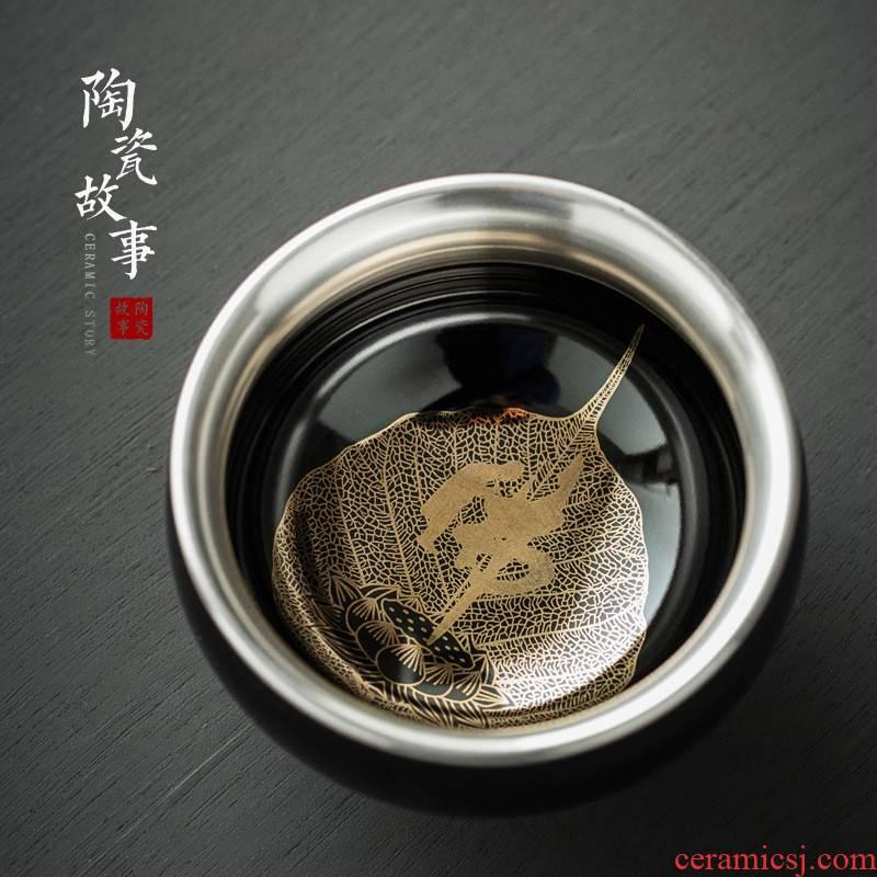 Ceramic story coppering. As silver light konoha roast flowers built lamp temmoku bodhi leaf tea master cup single cup sample tea cup