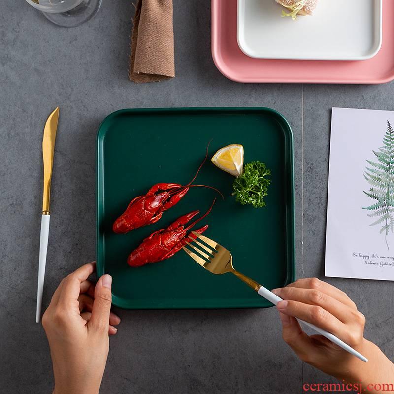 Scene for the Nordic dumb light dinner plate ceramic flat tetragonal dish dish household tableware steak plate plate