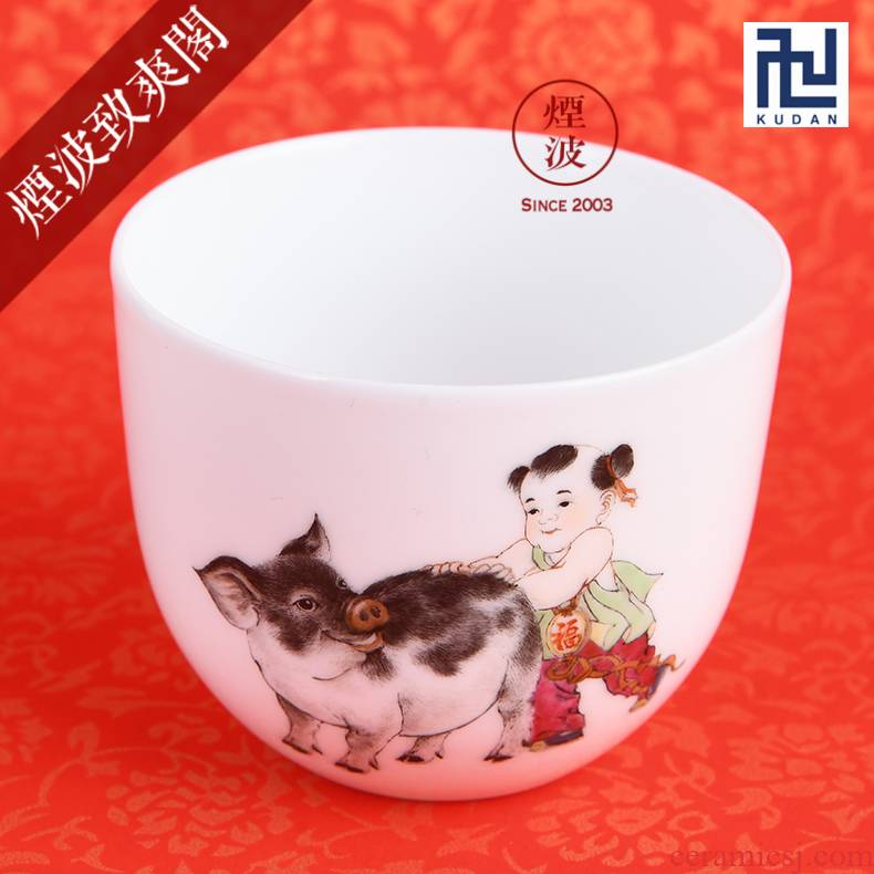 Those nine calcinations hand - made famille rose porcelain jingdezhen experienced painters lam, the first year of the pig chicken cylinder cup