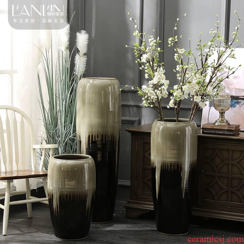 Ceramic vase large fleshy hydroponic pot sitting room hotel villa landing place Chinese flower arranging flowers, flower pot