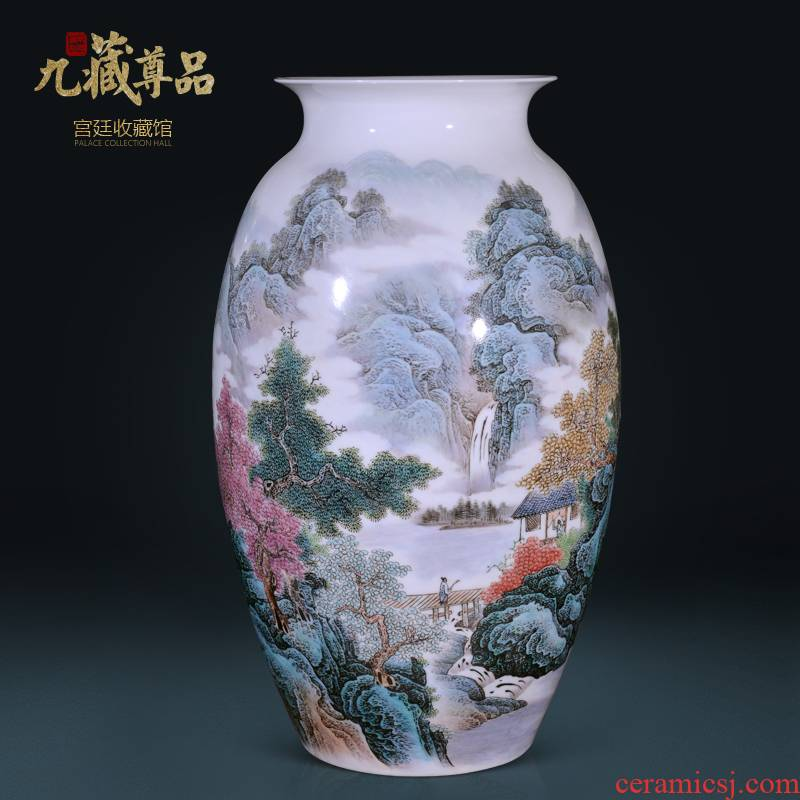 Jingdezhen ceramics vase Wang Guangtian hand - made hill singing springs, Chinese style living room TV cabinet decorative furnishing articles arranging flowers