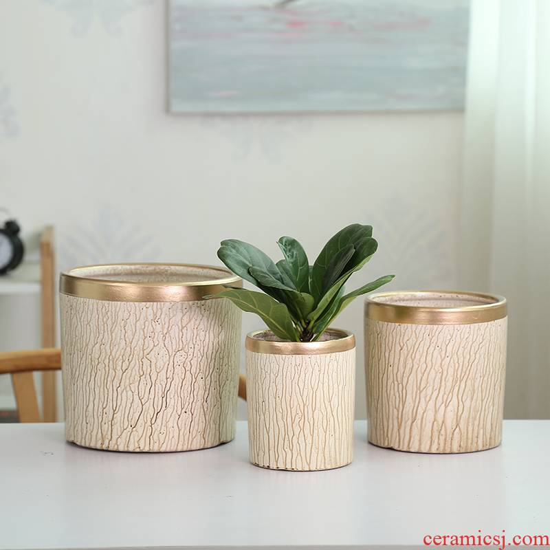 European simple cylindrical straight cylindrical ceramic flower pot new desktop butterfly orchid cactus rich tree green plant POTS