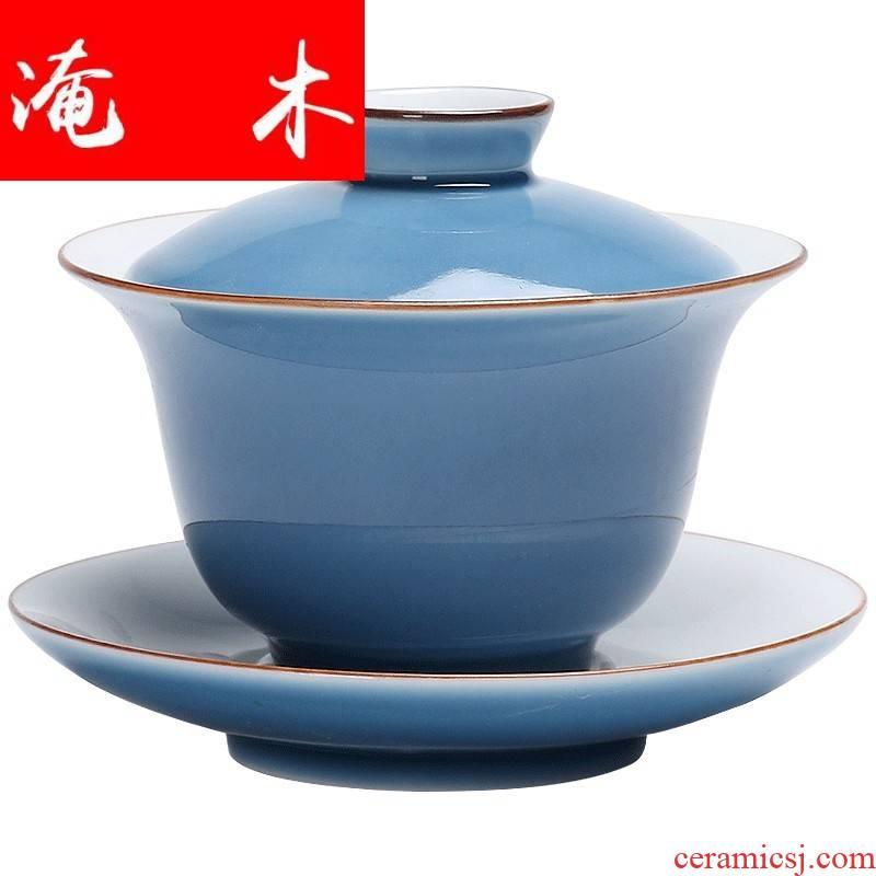 Submerged wood ji the qing three it tureen pea green, ji blue purple ceramic kung fu tea tea bowl expressions using three tureen