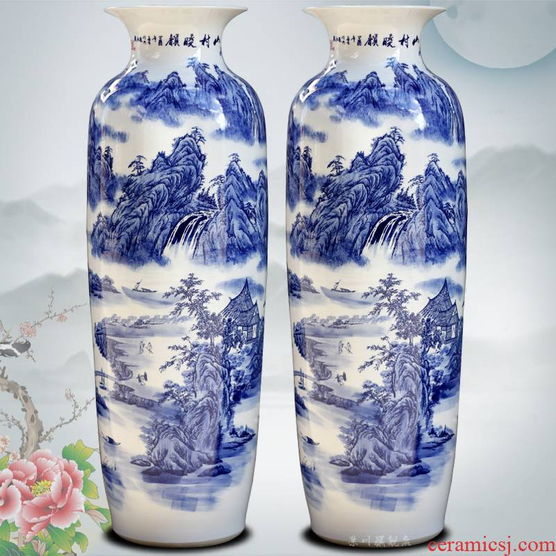 Blue and white porcelain of jingdezhen ceramics mountain dawn rhyme idea gourd bottle of large quiver home sitting room adornment is placed