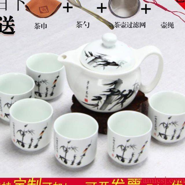 The blue and white porcelain tea set kitchen household kung fu suit six large gift cup teapot contracted logo