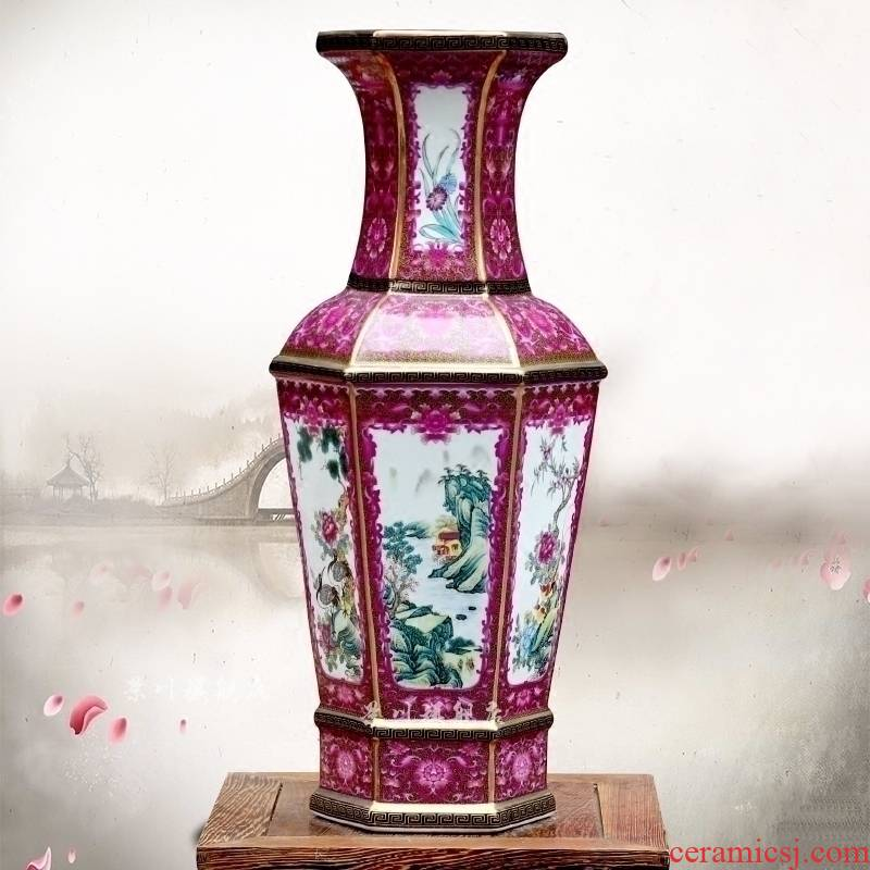 Archaize of jingdezhen ceramics colored enamel landscape painting of flowers and dried flowers, flower arrangement sitting room mesa vase furnishing articles