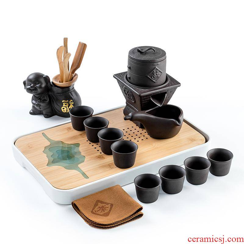 Violet arenaceous automatic tea set the kitchen kung fu suit household lazy bop hot tea tea teapot tea cups