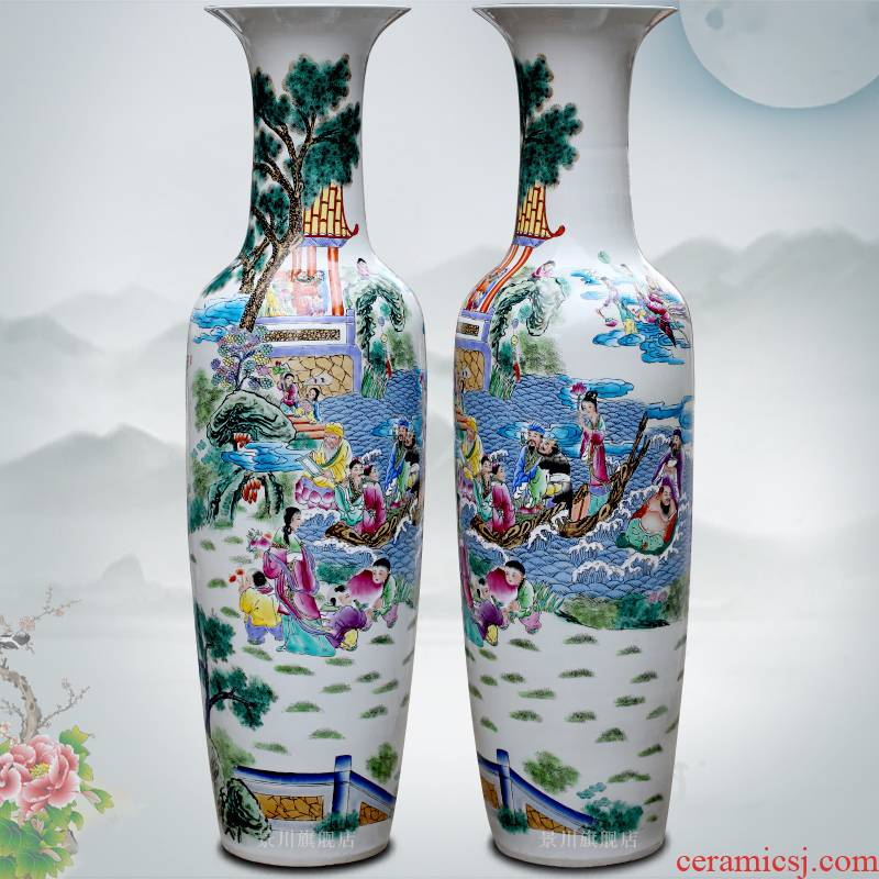 Jingdezhen ceramic famille rose porcelain hand - made 'birthday chart of large vases, sitting room of modern Chinese style household furnishing articles