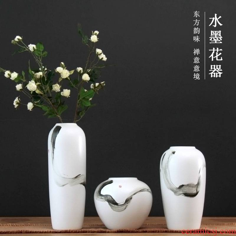 Jingdezhen ceramic vase dried flowers flower arrangement creative dishes desktop furnishing articles Chinese ink painting the sitting room porch decoration