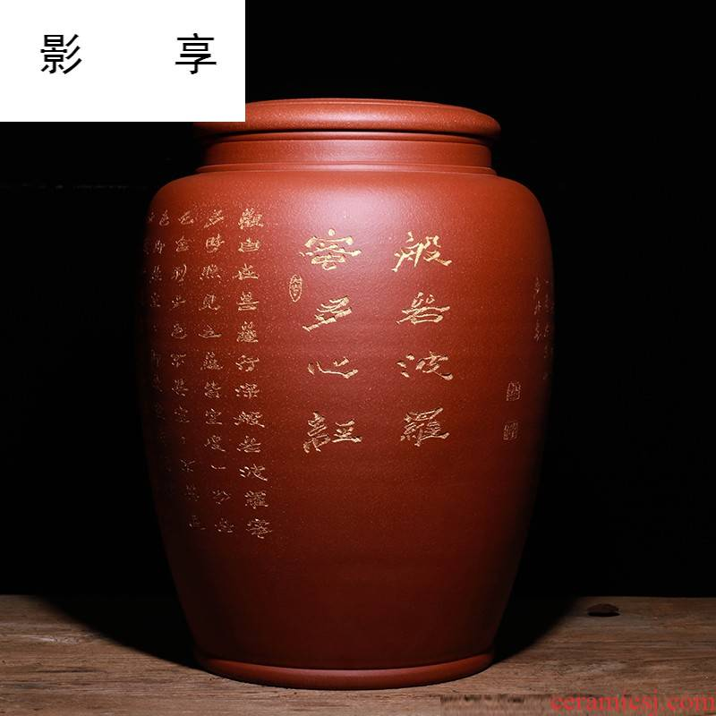 Shadow at yixing purple sand tea pot oversized pure checking quality pu - erh tea storage POTS collection level 20 loaves of JH