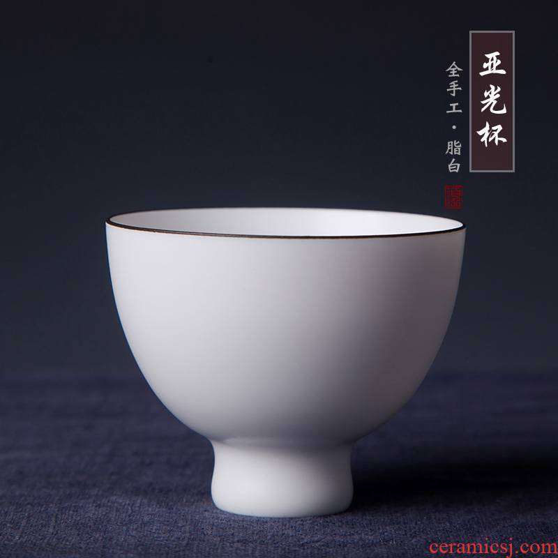 Fat white matte enrolled sample tea cup jingdezhen all checking ceramic cups matte enrolled white people master cup single cup cup
