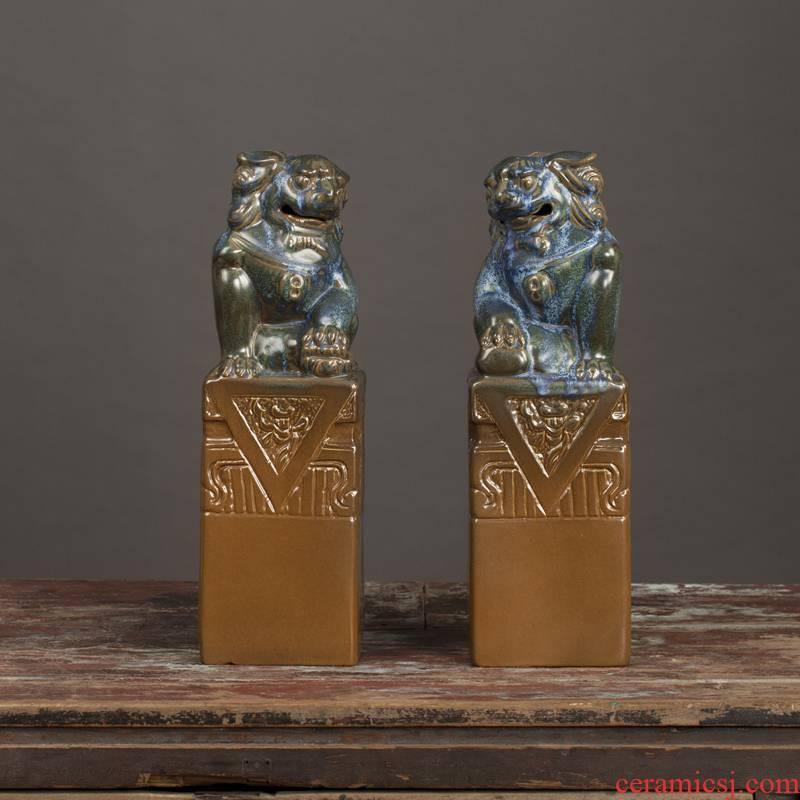 Archaize porch decorate furnishing articles furnishing articles furnishing articles animals ceramic lion jingdezhen ceramics