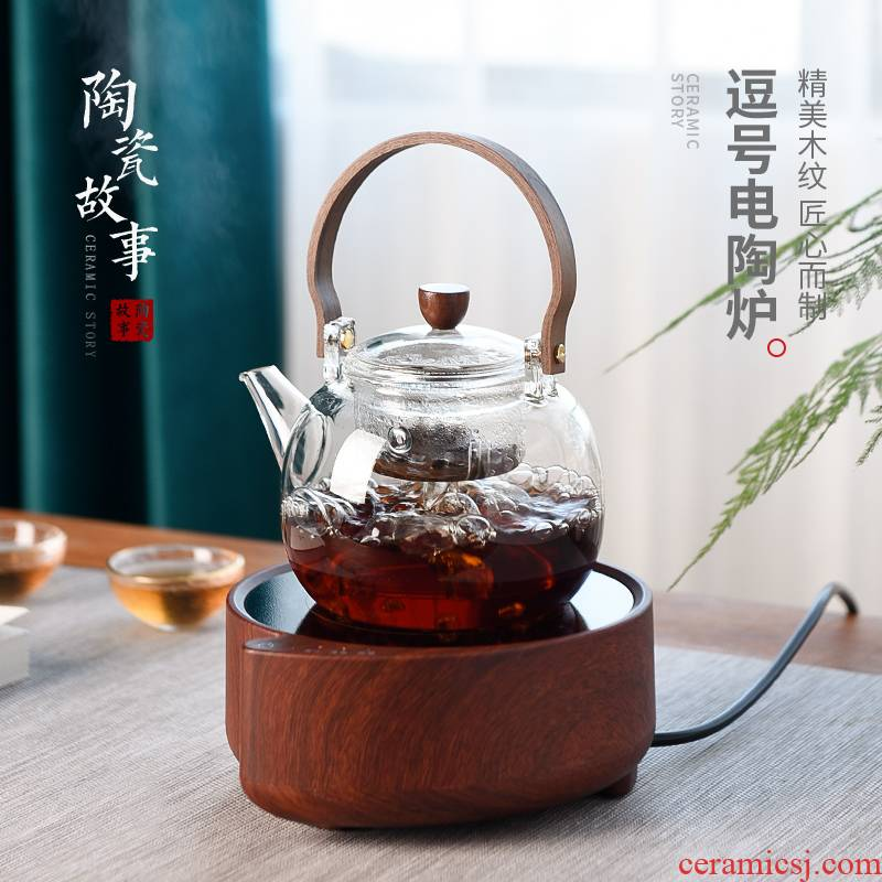 Electric ceramic story TaoLu boiling kettle black and white tea kettle electrothermal household cooking tea tea stove small glass