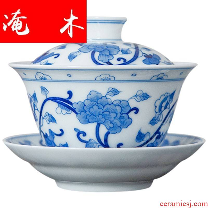 Flooded wooden blue and white hibiscus three double circle just tureen tea bowl of pure manual hand - made jingdezhen ceramic kung fu tea set