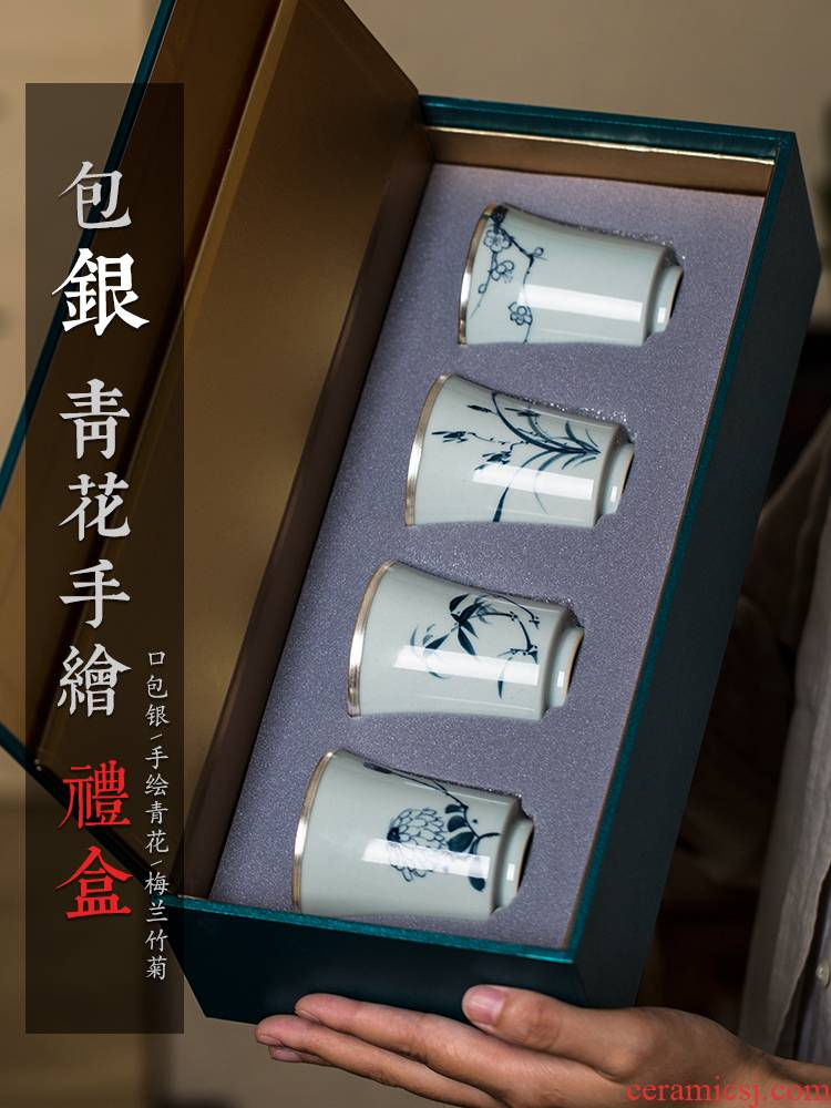 Public remit silvering kung fu masters cup hand - made of blue and white porcelain cups of jingdezhen ceramic tea set gift boxes restoring ancient ways