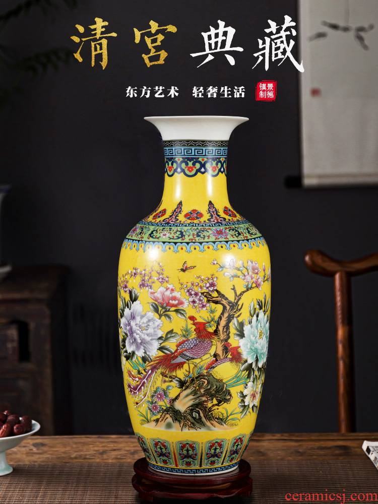 Jingdezhen ceramics powder enamel gets vase landed home sitting room TV ark, adornment is placed large arranging flowers