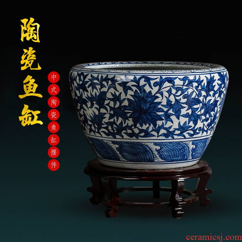 Jingdezhen ceramics hand - made archaize royal goldfish bowl of blue and white porcelain basin of water lily lotus garden furnishing articles sitting room