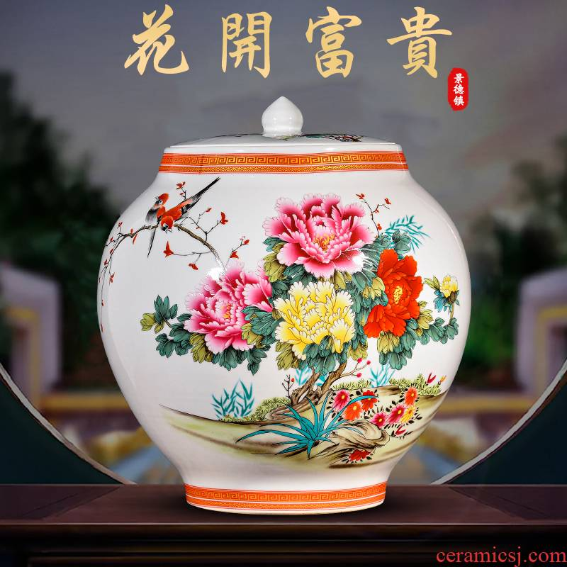 Jingdezhen ceramic blooming flowers vase furnishing articles household act the role ofing is tasted the new Chinese style living room TV cabinet storage tank process