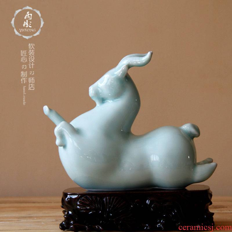 Jingdezhen ceramic sheep shadow celadon home furnishing articles furnishing articles of Jingdezhen ceramics decoration