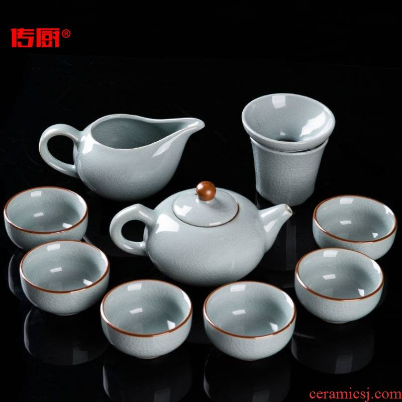 The elder brother up with kitchen kung fu tea set suit household of Chinese style ice to crack open The slice contracted your up glaze ceramic tea pot lid