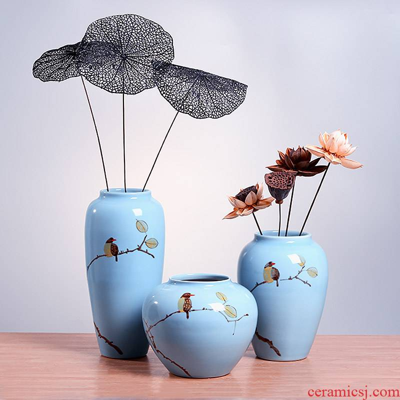 Jingdezhen modern Chinese ceramic hand - made vases, the sitting room TV ark, contracted creative arts and crafts decorative furnishing articles