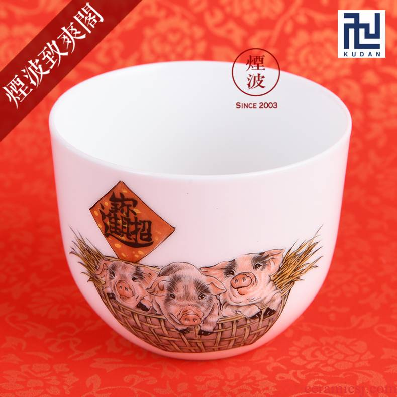 Those nine calcinations hand - made famille rose porcelain jingdezhen experienced painters a thriving business year of rooster